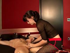 Alluring dame busting huge balls passionately in femdom bdsm sex
