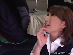 Lustful Asian office girl chats her boss then blows cock Hardcore