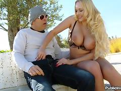 Blonde porn star with big nipples enjoying a hardcore cowgirl style fuck