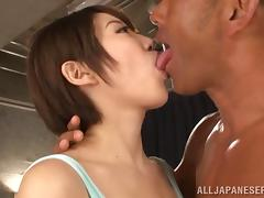 Slim Asian milf Makoto sucks two pricks and rides them