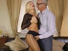 Old and Young, Beauty, Blonde, Blowjob, Boots, Pantyhose