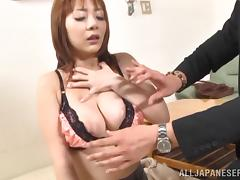 Gorgeous Japanese babe stimulated as her big tits gets fondled while being fingered in MMF