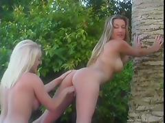 Hot girls shower naked then have group lesbian sex outdoors