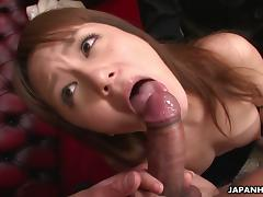 Rui Natsukawa gets hairy cunt banged while vibrator on cunt