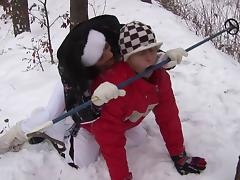 Brunette babe Naomi gives head in the snow and fucked hardcore
