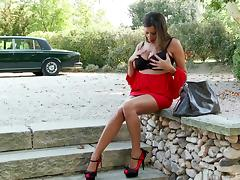 Naturally busty Sensual Jane masturbates outdoors in hardcore solo vid